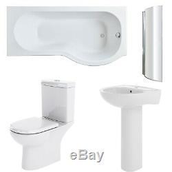 Premier Lawton Complete Bathroom Suite with P-Shaped Shower Bath 1700mm Right