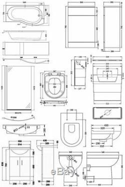 Premier Mayford Complete Furniture Bathroom Suite with B-Shaped Shower Bath 1700