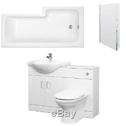 Premier Mayford Complete Furniture Bathroom Suite with L-Shaped Shower Bath 1700