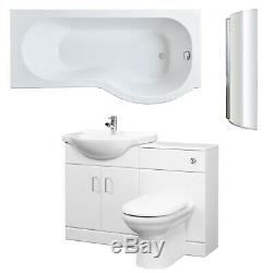 Premier Mayford Complete Furniture Bathroom Suite with P-Shaped Shower Bath 1700