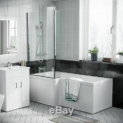 RH L Shaped Shower Bath Toilet Vanity Unit Complete Bathroom Suite Desner