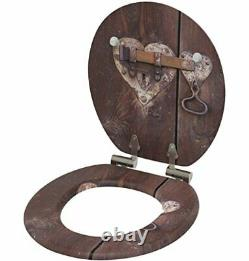 Sanilo Round Toilet Seat Country Molded Wood Motif Heart Lock Slow Close complet