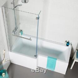 Shower bath suite L shape left hand complete with taps and rain shower