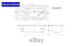 Trojan P Shaped Bathroom Suite Complete, Vanity, Close Coupled Toilet & Taps