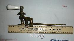 Vintage Toilet Flush Handle White Porcelain & Brass lever Complete GREAT Shape